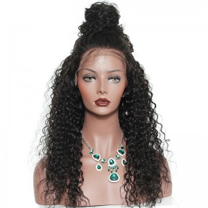 Deep Curly 360 Lace Wigs 100% Human Hair Wigs Ntural Black Color