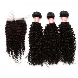 Indian Remy Hair Kinky Curly Free Part Lace Closure with 3pcs Weaves