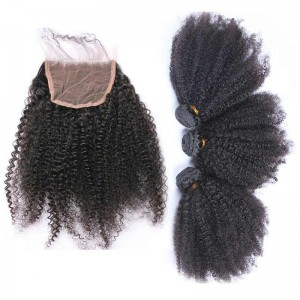 Indian Remy Hair Afro Kinky Curly Three Part Lace Closure with 3pcs Weaves