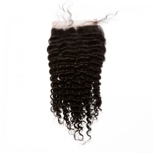 Mongolian Virgin Hair Kinky Curly Three Part Lace Closure 4x4inches Natural Color