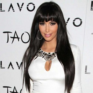 Kim Kardashian Brazilian Virgin Hair Straight Lace Front Human Hair Wigs With Bangs