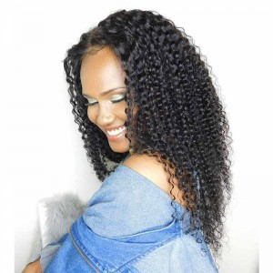 Brazilian Virgin Human Hair Wig Natural Color Kinky Curly Lace Front Wigs