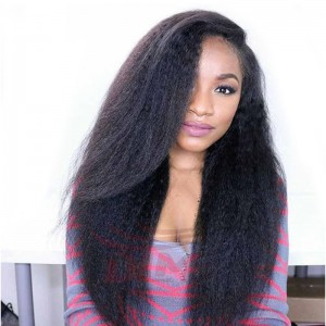 Kinky Straight Full Lace Wig 250% High Density Italian Coarse Yaki Full Lace Human Hair Wigs For Black Women