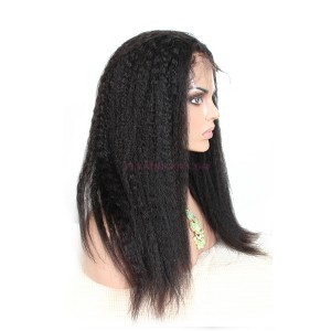 Natural Color Indian Remy Human Hair Wigs Kinky Straight Silk Top Lace Wigs