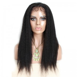 Natural Color Brazilian Virgin Human Hair Wigs Kinky Straight Silk Top Lace Wigs