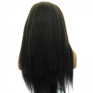 Kinky Straight Lace Front Human Hair Wigs Mongolian Virgin Hair Natural Color