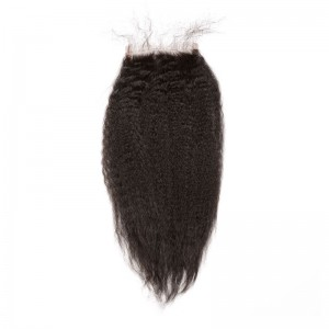 Natural Color Kinky Straight Brazilian Virgin Hair Free Part Lace Closure 4x4inches