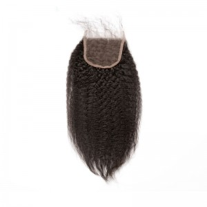 Mongolian Virgin Hair Kinky Straight Free Part Lace Closure 4x4inches Natural Color