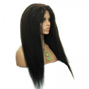 Kinky Straight Malaysian Virgin Hair Full Lace Human Hair Wigs Natural Color