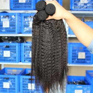 Indian Virgin Hair Natural Color Kinky Straight Hair Weave 3 Bundles