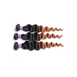 Peruvian Virgin Human Hair Loose Wave Ombre Hair Weave Color 1b/#30 3 Bundles