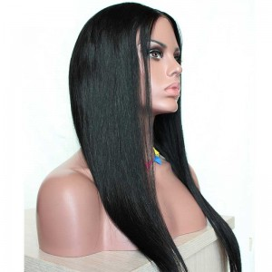 Ashanti Natural Color Silk Straight Virgin Human Hair Wig Lace Front Wigs