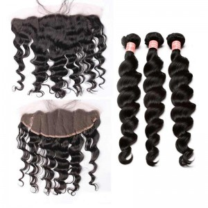 Natural Color Loose Wave Peruvian Virgin Hair Lace Frontal Free Part With 3pcs Weaves