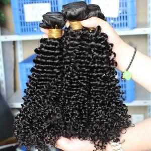 Natural Color Malaysian Virgin Hair Kinky Curly Hair Weave 3 Bundles