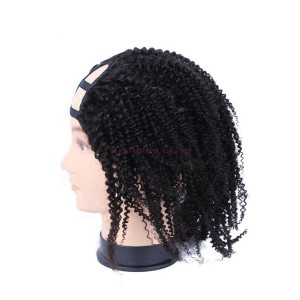 Natural Color Unprocessed Kinky Curly Brazilian Virgin Human Hair U Part Wigs
