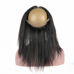 360 Lace Frontal Band Yaki Straight Brazilian Virgin Hair Lace Frontal With Natural Hairline