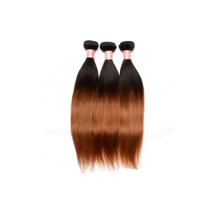 Ombre Human Hair Weave Color 1b/#30 Silky Straight Hair Weaves 3 Bundles