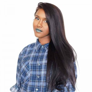 Natural Color Unprocessed Brazilian Virgin 100% Human Hair Silk Straight Full Lace Wigs