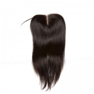 Malaysian Virgin Hair Silk Straight Three Part Lace Closure 4x4inches Natural Color