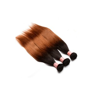 Brazilian Virgin Human Hair Ombre Hair Weave Color 1b/#30 Silky Straight 3 Bundles