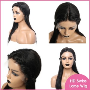 Swiss transparent Lace 13x6 150% Lace Front Wig Pre Plucked Human Virgin Hair