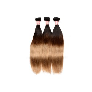 Ombre Hair Weave Color 1b/#4/#27 Straight Virgin Human Hair 3 Bundles