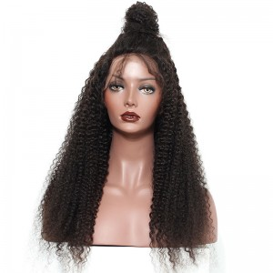 Natural Color Kinky Curly Human Hair Wig Mongolian Virgin Hair Full Lace Wigs