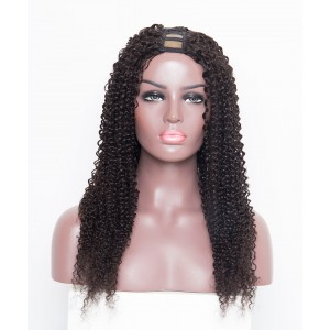 "24"" Kinky Curly Brazilian Virgin Human Hair U Part Wigs"