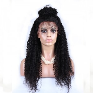 Natural Color Full Lace Wigs Kinky Curly 100% Human Hair Brazilian Virgin