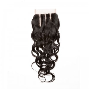 Peruvian Virgin Hair Water Wet Wave Free Part Lace Closure 4x4inches Natural Color