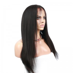 Top quality 360 Circular Lace Wigs Yaki straight Brazilian Virgin Hair Full Lace Wigs