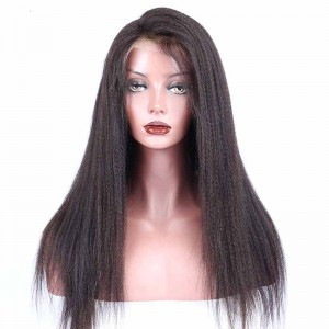 Natural Color Italian Yaki Brazilian Virgin Human Hair Glueless Full Lace Wigs
