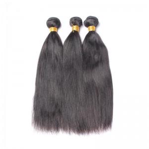 Italian Yaki Straight Brazilian Virgin Human Hair 3 Pcs/Lot Natural Color