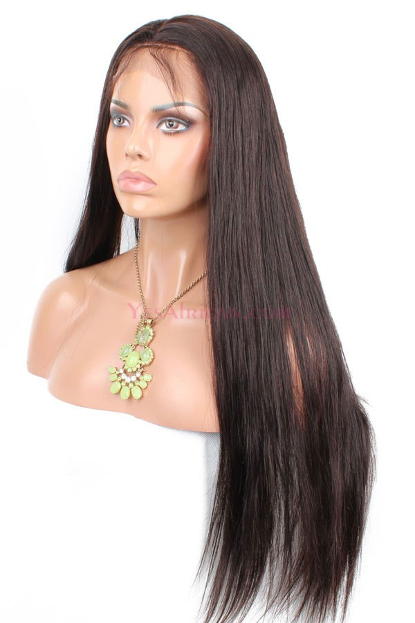 Color  2 Dark Brown Silky Straight Indian Remy Human Hair Full Lace Wigs ac84bfe441f0