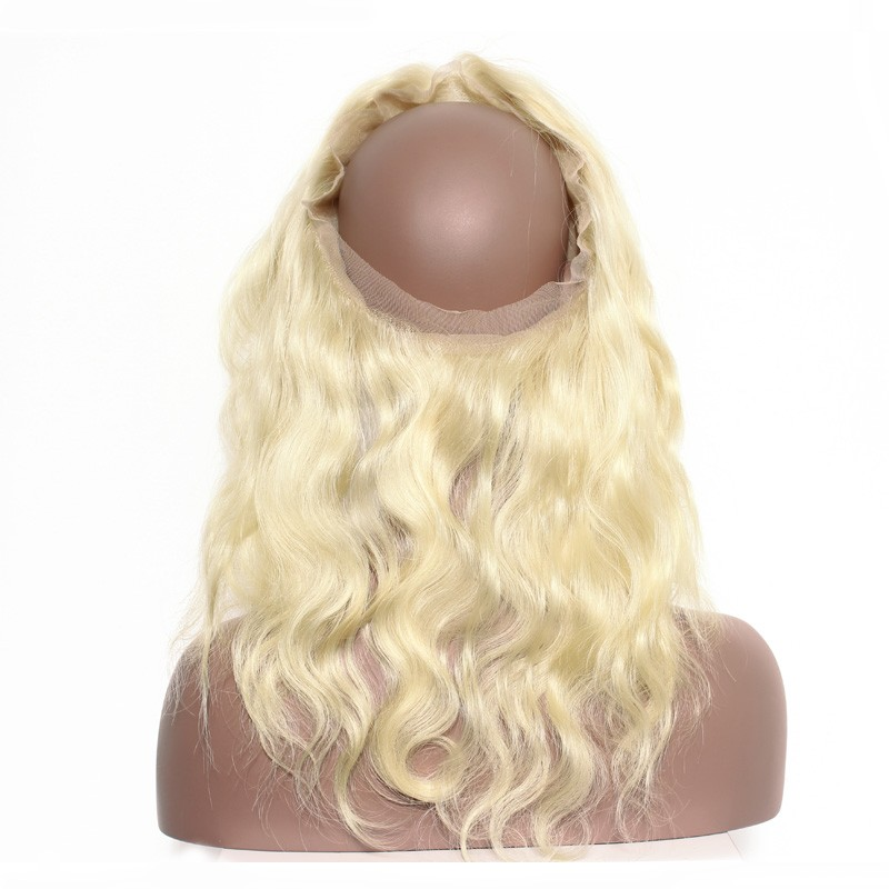 613 Blonde Color 360 Lace Frontal Band Body Wave Brazilian Virgin Hair  Lace Frontal 22.5 e007fe458b