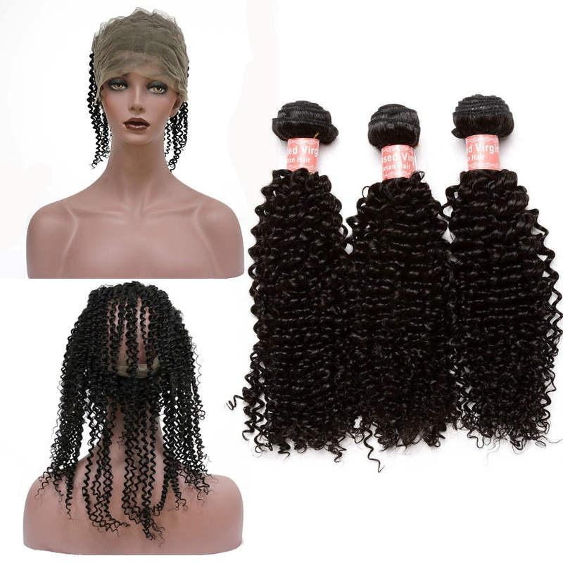 360 Frontal Closure With 3 Bundles Brazilian Virgin Hair Kinky Curly