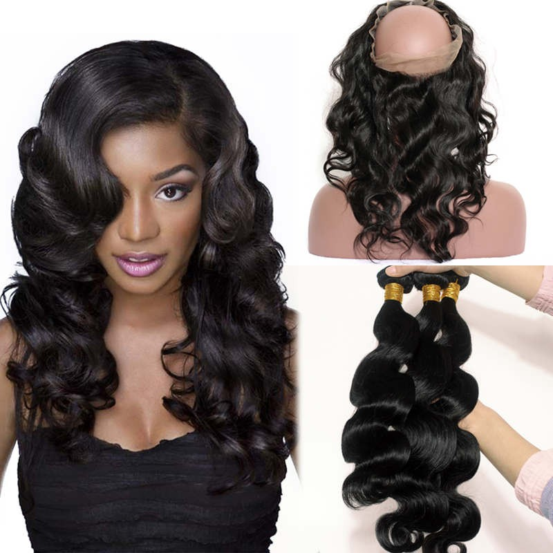 360 Lace Frontal Closure With 3 Bundles Brazilian Virgin Hair Body Wave 360  Lace Band b75718d0d
