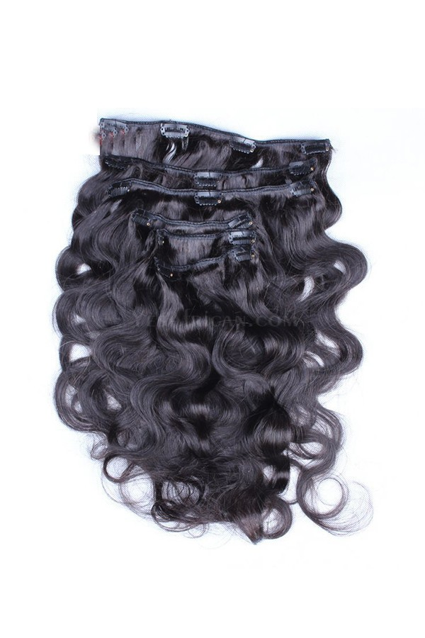 Body Wave Mongolian Virgin Hair Clip In Human Hair Extensions
