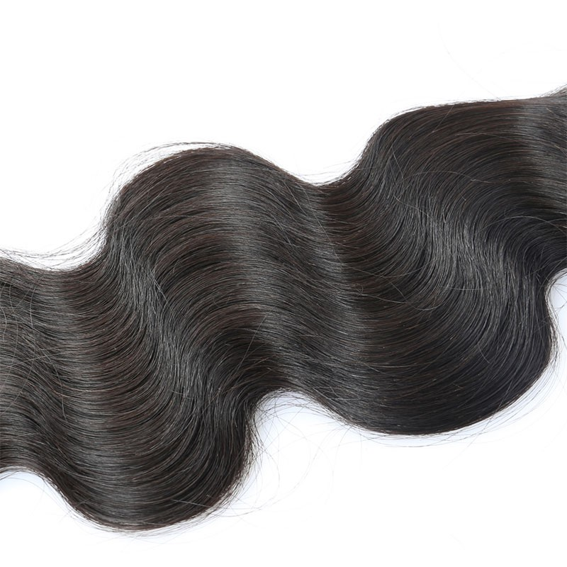Natural Color Body Wave Brazilian Virgin Human Hair Extensions Weave