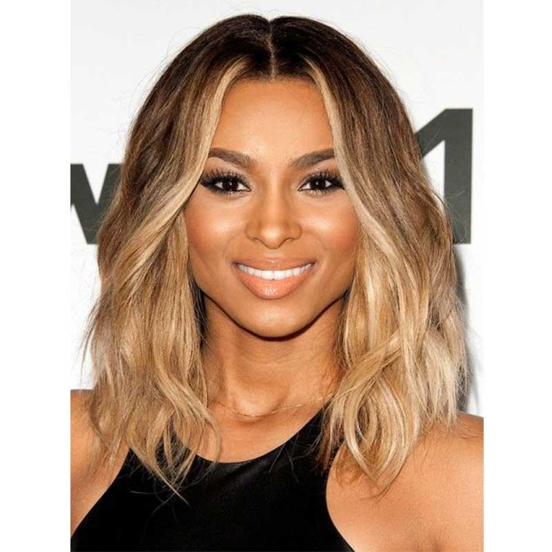 Ciara Inspired Ombre Blonde Color Wavy Short Bob Lace Front Human