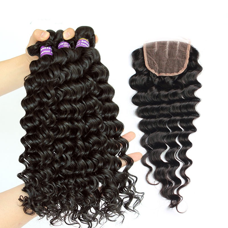 Indian Remy Hair Deep Wave Free Part Lace Closure With 3pcs Weaves