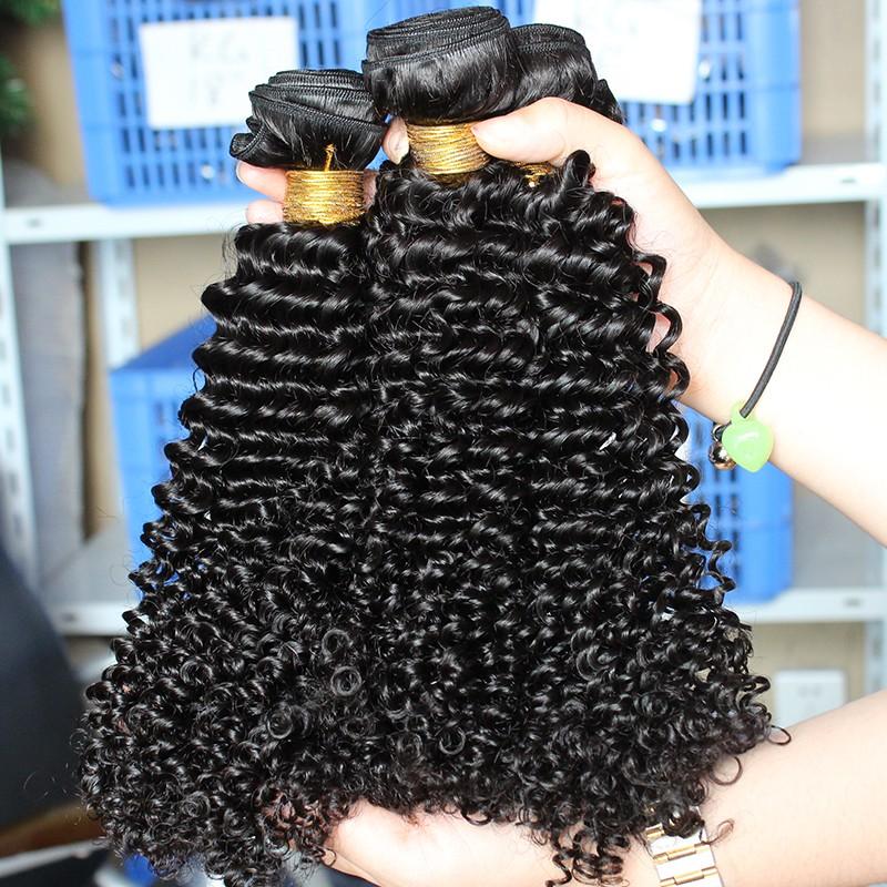 Natural Color Indian Virgin Human Hair Kinky Curly Hair Weave 3