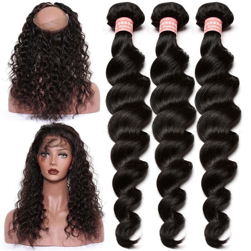 671024e88 360 Lace Frontal Closure With 3 Bundles Loose Wave Brazilian Virgin Hair  360 Lace Band