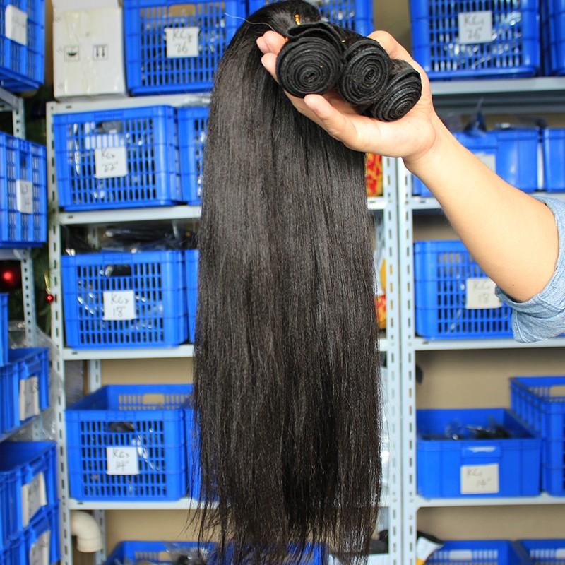 Peruvian Virgin Human Hair Yaki Straight Hair Weave Natural Color 3