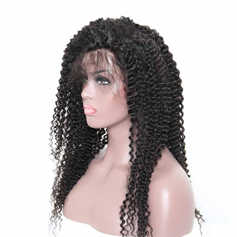 360 Frontal Wig 150% Density Kinky Curly Brazilian Virgin Hair 360 lace Wig  With Baby d6e0c5f448