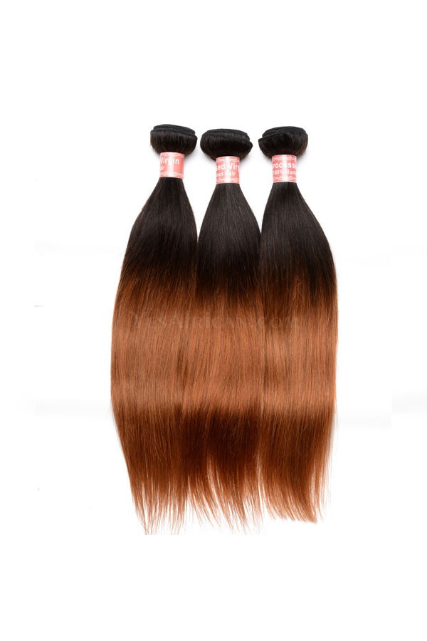 Ombre Hair Weave Color1b30 Silky Straight Virgin Human Hair 3