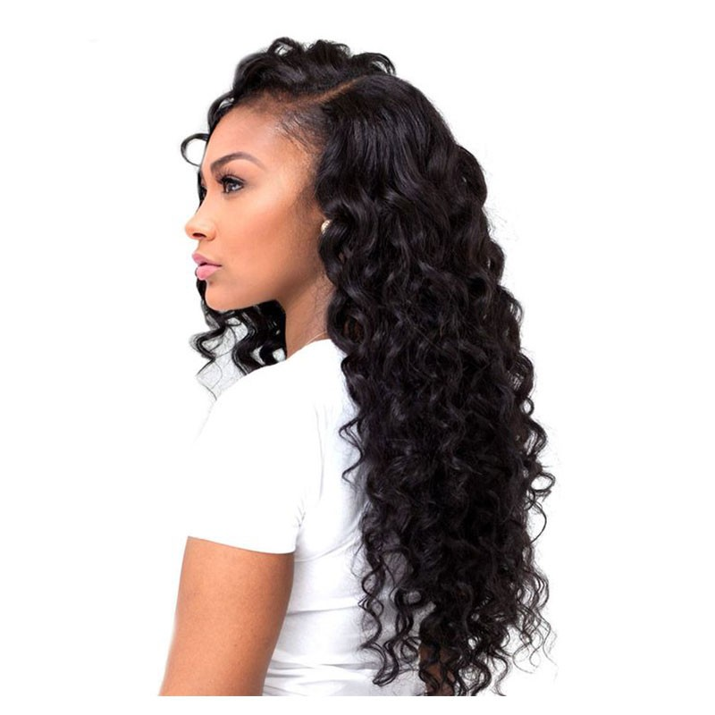 Deep Wave Brazilian Virgin Hair Full Lace Wigs Natural
