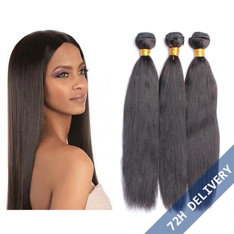 Brazilian Virgin Human Hair Natural Color Yaki Straight Hair Weave 3