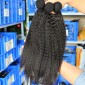 Natural Color Kinky Straight Malaysian Virgin Human Hair Weave 4 Bundles