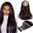 360 Frontal Closure With 3 Bundles Straight Brazilian Virgin Hair 360 Lace Band Frontal